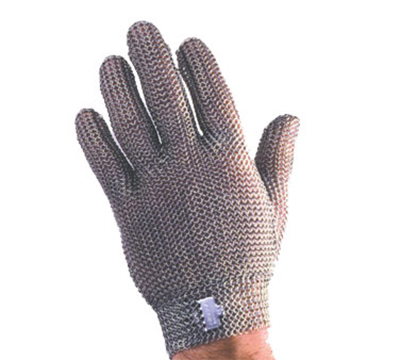 Tomlinson 1036468 Full Hand Metal Mesh Glove, 304L Stainless, Steel Closure, L
