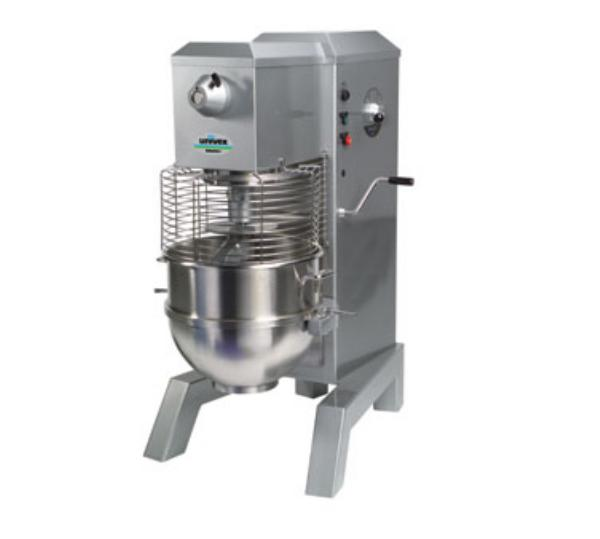 Univex SRM80+ 2081 80-qt Floor Model Mixer, Beater Whip Dough Hook, 208/240/1, Silve