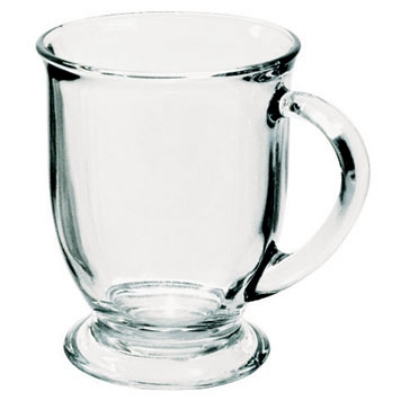 Anchor 80836L8 Mug Set, (16) 16 oz Cafe Mugs, Crystal