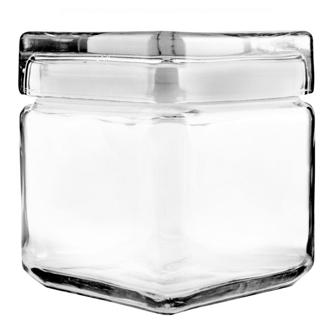 Anchor 85587R Stackable Square Storage Jar, 1 qt., Glass Lid