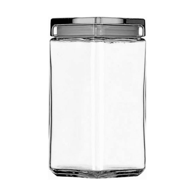 Anchor 85589R Stackable Square Storage Jar, 2 qt., Glass Lid