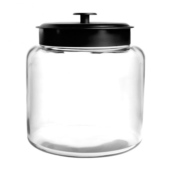 Anchor 88904 1-1/2 gallon Modern Montana Jar, Black Metal Cover