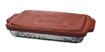 Anchor 91555OBL11 3-qt Sculpted Bake Dish w/ Red