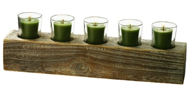 Anchor Hocking 98575 Rectangular Candle Garden 5 Candle Holders Natural Wood Base Restaurant Supply