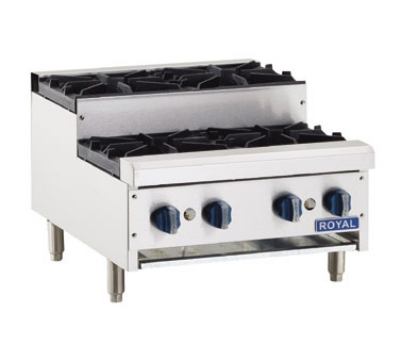 Royal Range RHP-24-4SU NG 24-in Countertop Step Up Hotplate w/ 4-Burners & Cast Iron Grate, NG