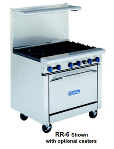 "Royal Range RR-4-36 36"" 4-Burner Gas Range, NG"