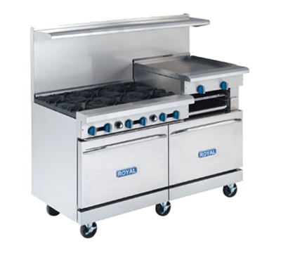 "Royal Range RR-4G36 60"" 4-Burner Gas Range with Griddle, LP"