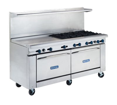 "Royal Range RR-8G24 72"" 8-Burner Gas Range with Griddle, LP"