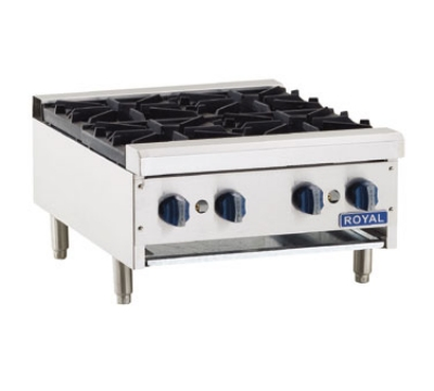 Royal Range RHP-24-4 LP 24-in Countertop Hotplate w/ 4-Open Burners & Cast Iron Grate, LP