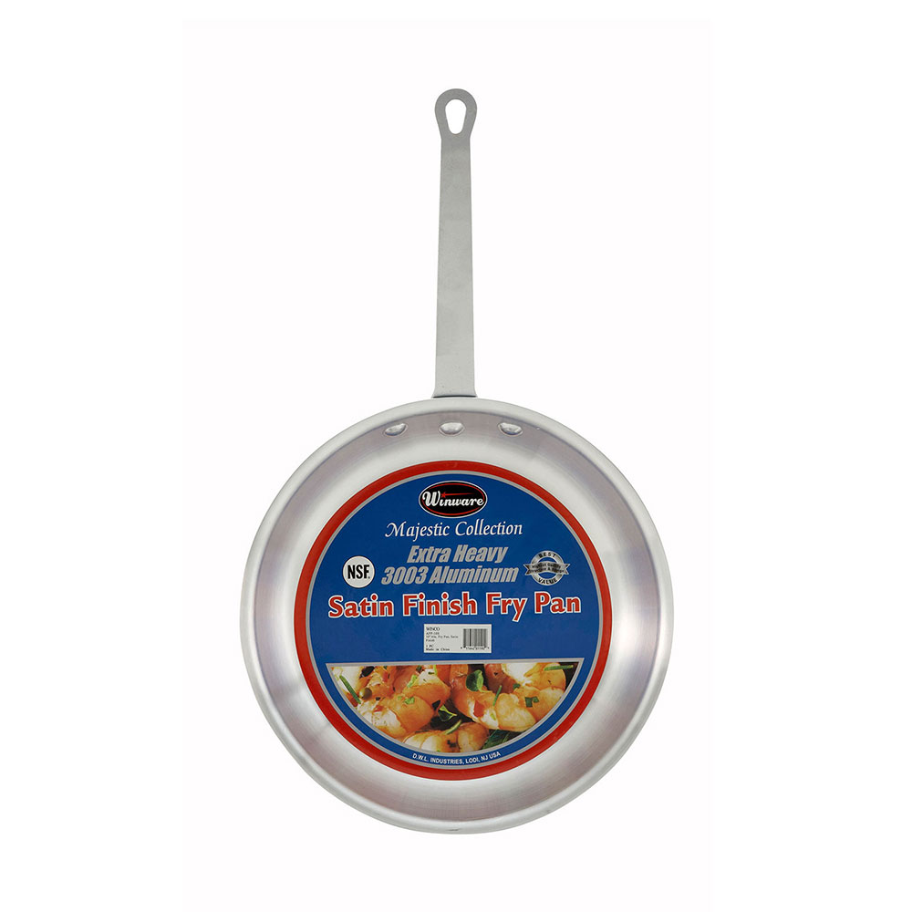 Winco AFP-10S Fry Pan, 10 in Diameter, Aluminum, Satin Finish
