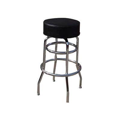 "Winco BC-1K 29-1/2"" Bar Stool - 2-Ring Frame, Black Vinyl P"