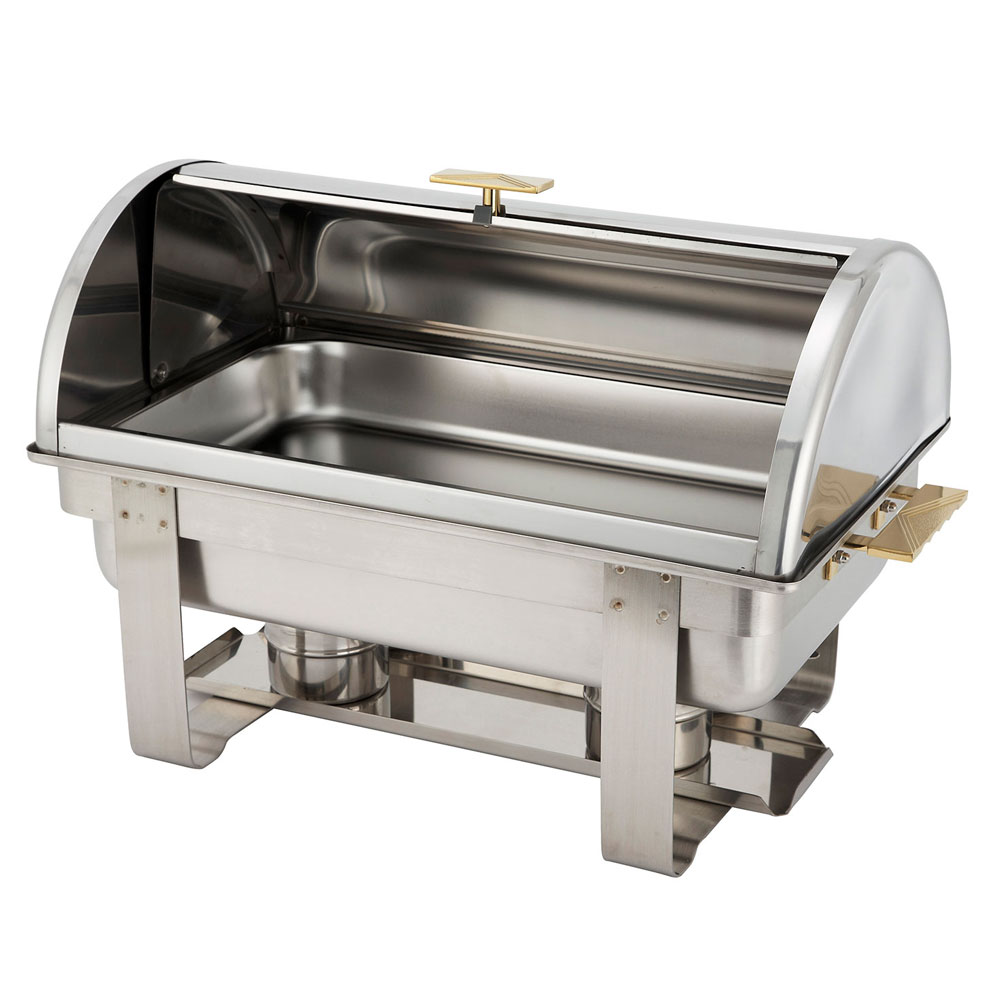 Winco C-5080 Dallas Chafer 8 qt Full Size Stainless Steel w/ Gold Accents Roll Top Restaurant Supply