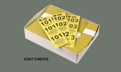 Winco CCK-5YL Coat Check, Yellow (500 pieces per box)