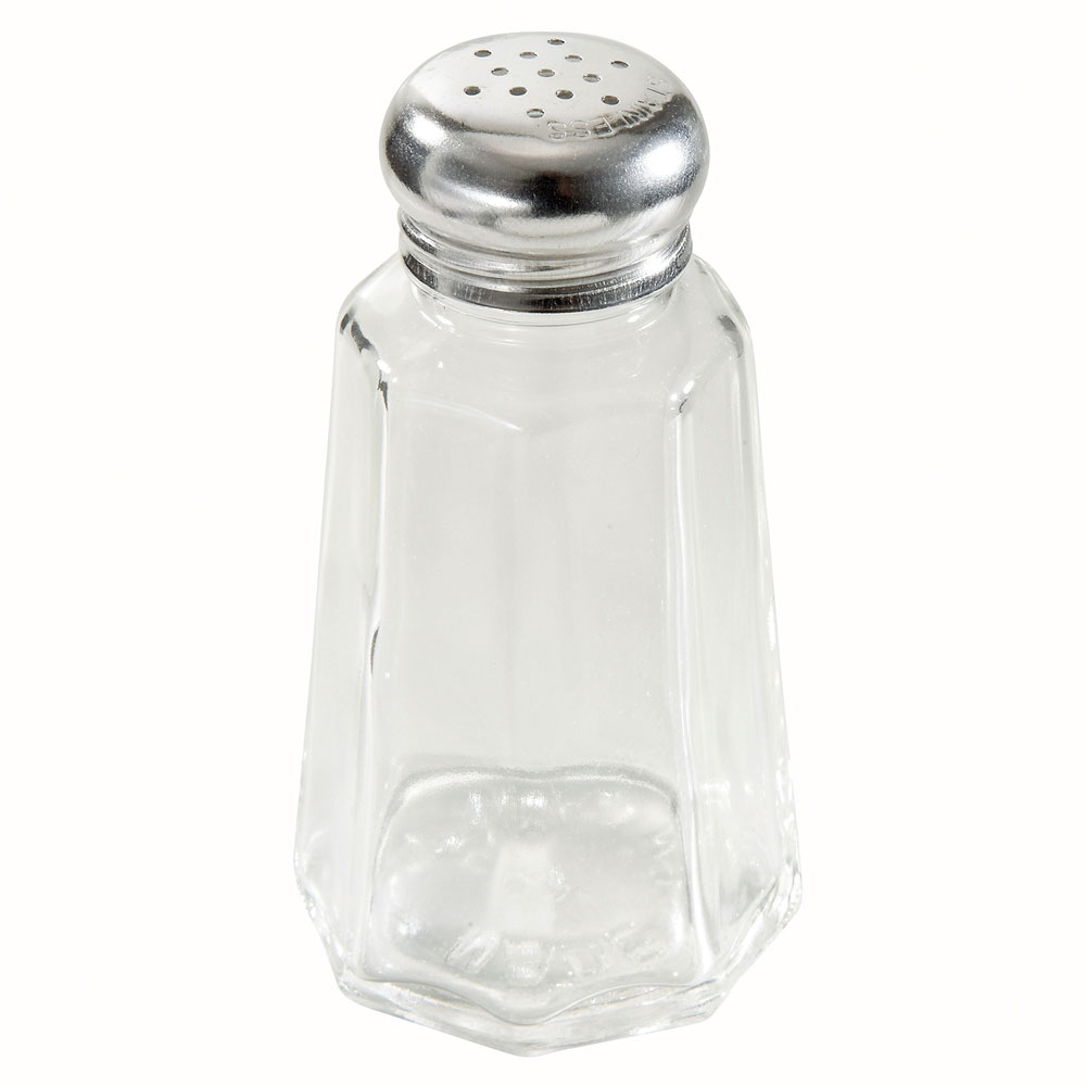 Winco G-106 Salt & Pepper Shaker, 2 oz, Paneled Glass, S