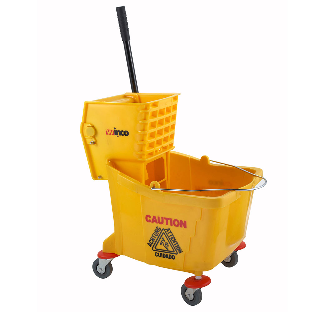 winco MPB-36 Mop Bucket with Wringer 36 quart Yellow Restaurant Supply