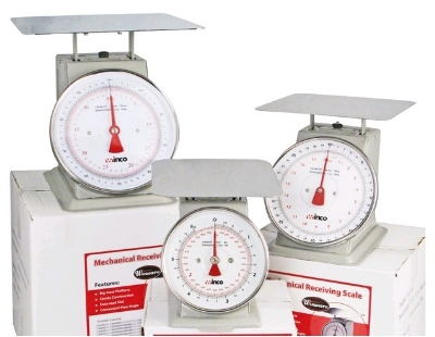 Winco SCAL-820 20 lb Receiving Scale, 8 in Dial, Large Steel Platform