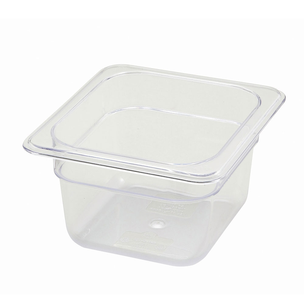 Winco SP7604 Poly-Ware Food Pan, 1/6 Size, 4 in Deep, Polycarbonate, NSF