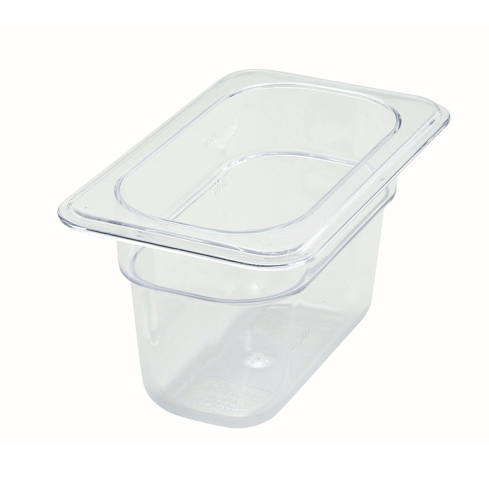 Winco SP7904 Poly-Ware Food Pan, 1/9 Size, 4 in Deep, Polycarbonate, NSF