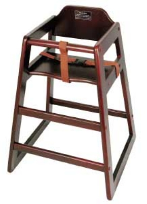 Winco CHH-103A Stacking Hi-Chair w/ Mahogany Wood Fin