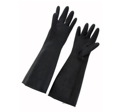 "Winco NLG-1018 Natural Latex Gloves, 10 x 18"", Black"
