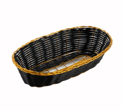 Winco PWBK-9B Oblong Woven Basket, Poly, Black w/ Gold Trim
