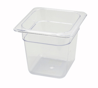 Winco SP7606 1/6-Size Food Pan, 6-in Deep, Break Resistant Polycarbonate