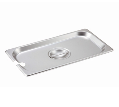 Winco SPCT 1/3-Size Slotted Steam Table Pan Cover, Stainless