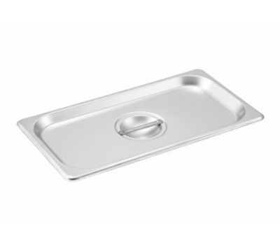 Winco SPSCT 1/3-Size Solid Steam Table Pan Cover, Stainless