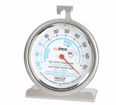 Winco TMT-RF3 Refrigerator Freezer Thermometer, Dial Type, 20 to 70-Temperature Range, 3-