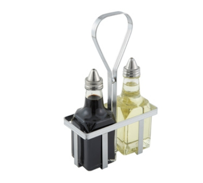 Winco WH-5 Square Oil & Vinegar Cruet Rack, Chrome Plated