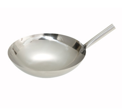 Winco WOK-14N 14-in Chinese Wok, 1mm Thick, Riveted Joint, Mirror Finish, Stainless