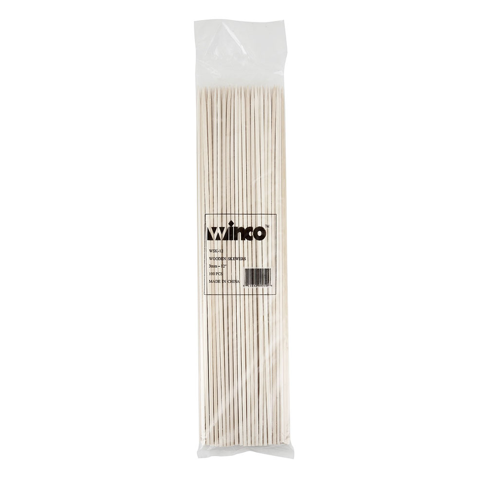 Winco WSK-12 Bamboo Skewer, 12 in Long, 100 per Bag