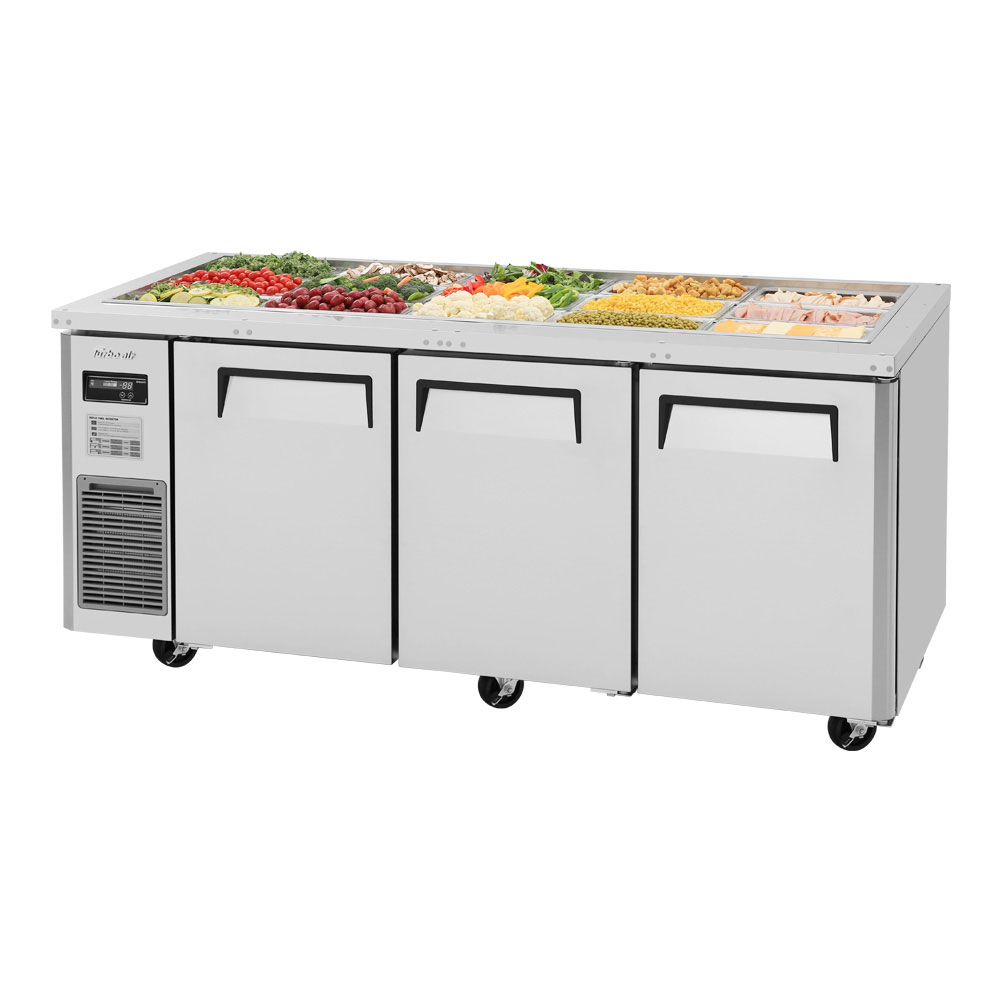 Turbo Air JBT-72 3-Section Refrigerated Buffet Table w/ Swing Doors, 18.2-cu ft