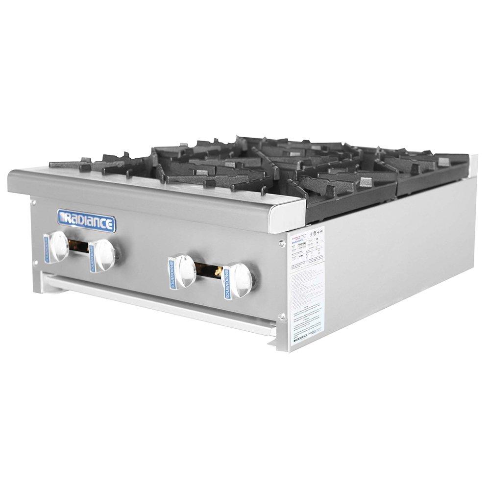 Turbo Air TAHP-24-4 NG 24-in Stainless Countertop Hotplate w/ Manual Controls, NG