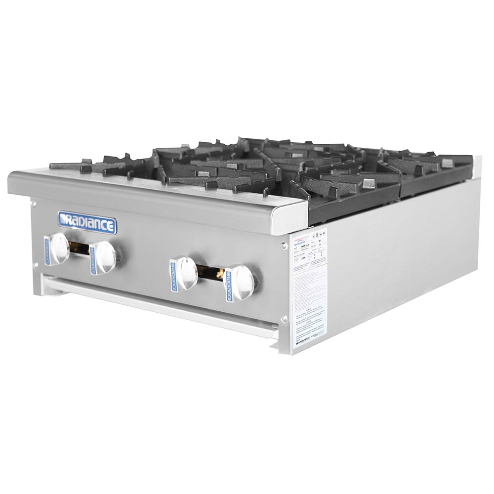 Turbo Air TAHP-24-4 LP 24-in Stainless Countertop Hotplate w/ Manual Controls, LP