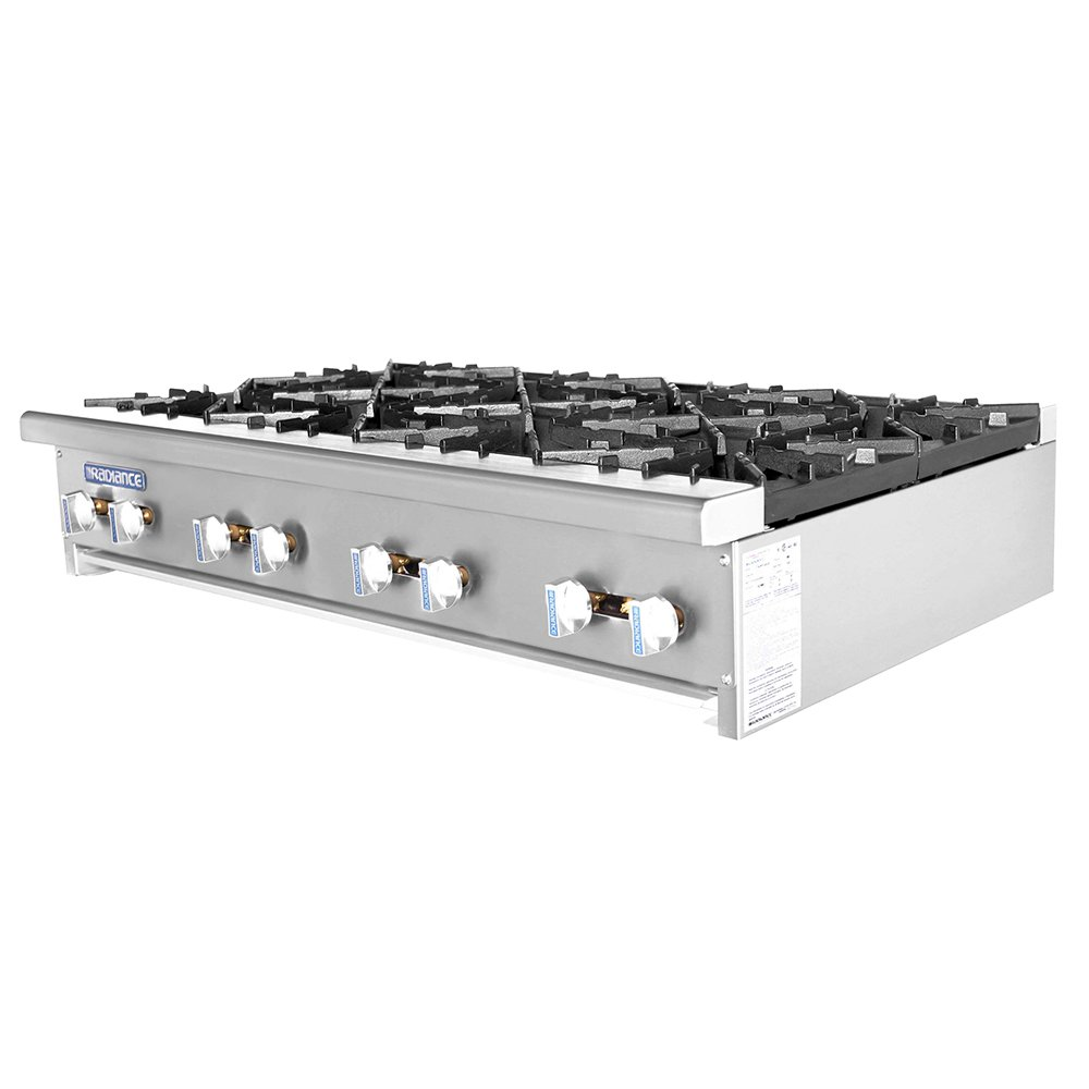 Turbo Air TAHP-48-8 NG 48-in Stainless Countertop Hotplate w/ Manual Controls, NG