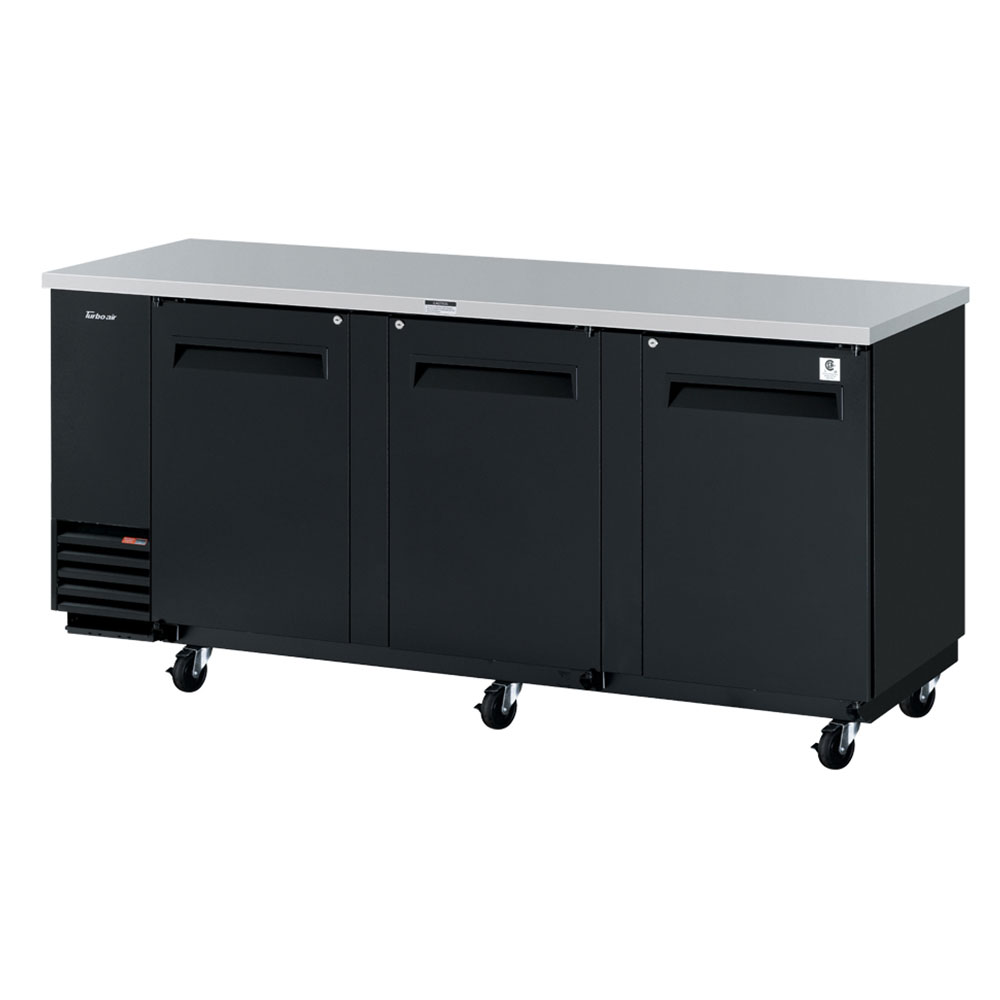Turbo Air TBB-4SB 3-Section Back Bar Cooler w/ 8-Shelves, Locks, 90.30-in, Black