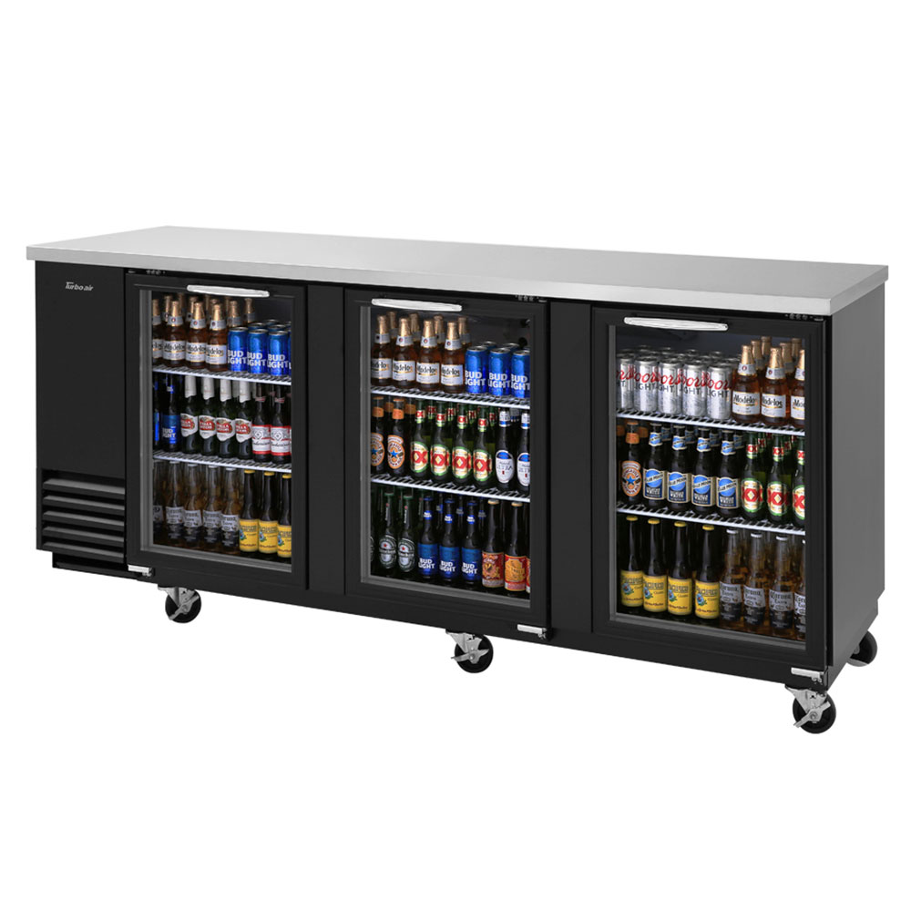 "Turbo Air TBB-4SG 90.37"" Bar Refrigerator w/ (3) Section - (3) Glass Swinging Doors, 115v"