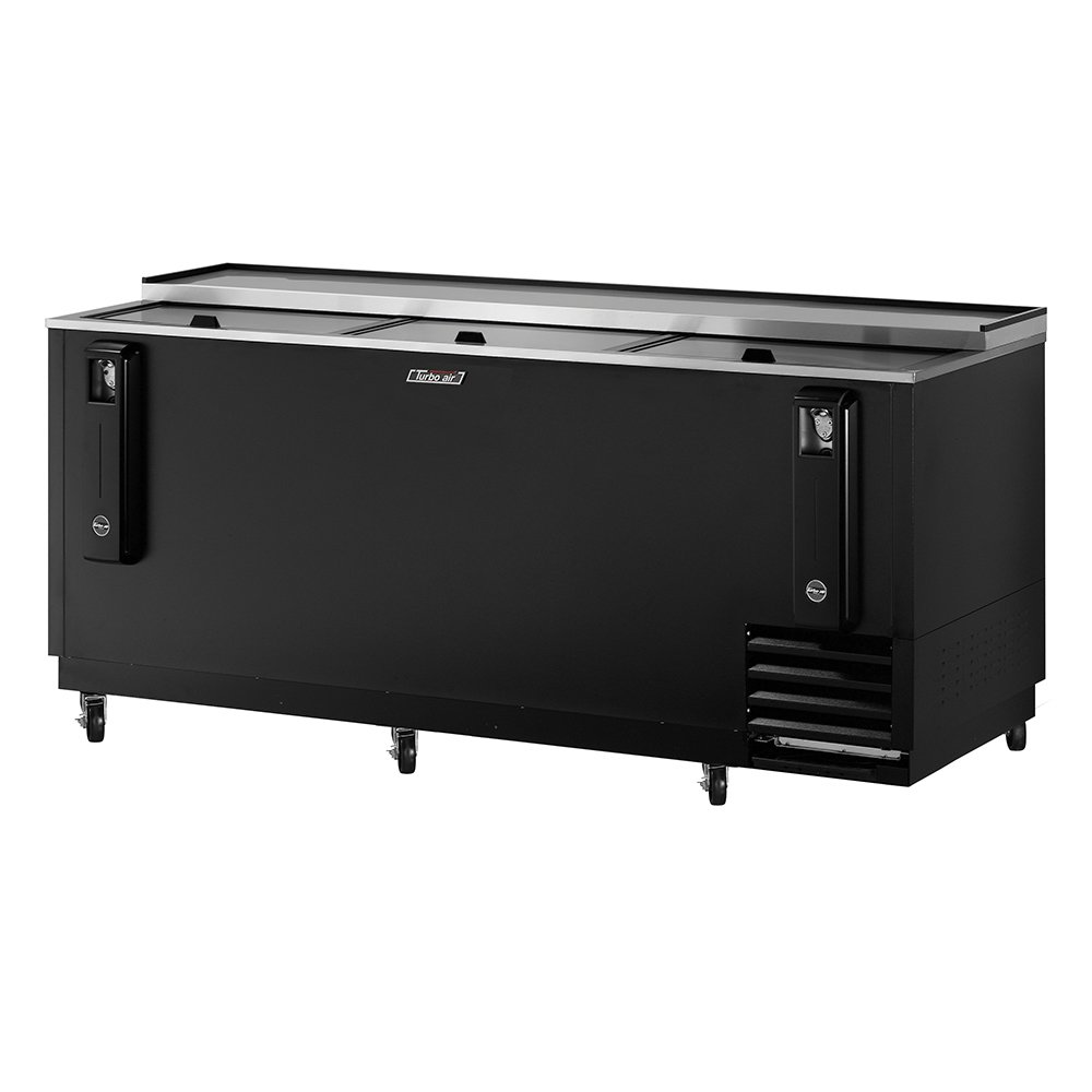 Turbo Air TBC-80SB 80-in Bottle Cooler w/ 3-Sliding Doors, Stainless Lid & Top, Black