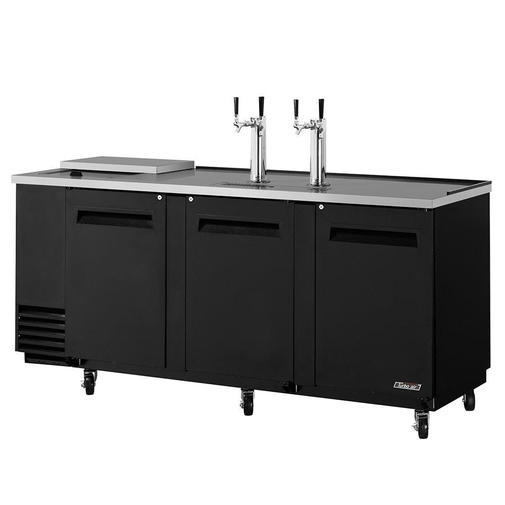 Turbo Air TCB-4SB 90-in Club Top Beer Dispenser w/ 3-Swing Doors & 4.5-Barrel Capacity, Black