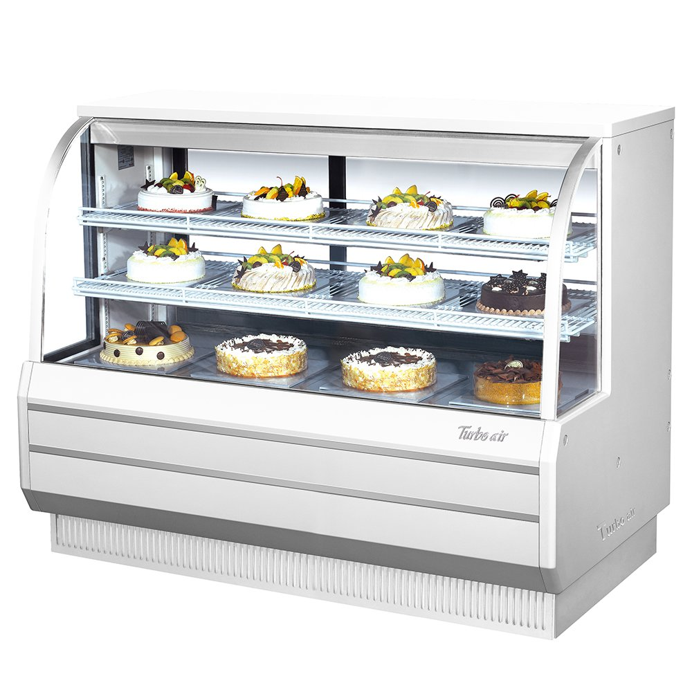"""Turbo Air TCGB602 60.5"""" Full Service Refrigerated Deli Case w/ Curved Glass - (3) Levels, 115v"""