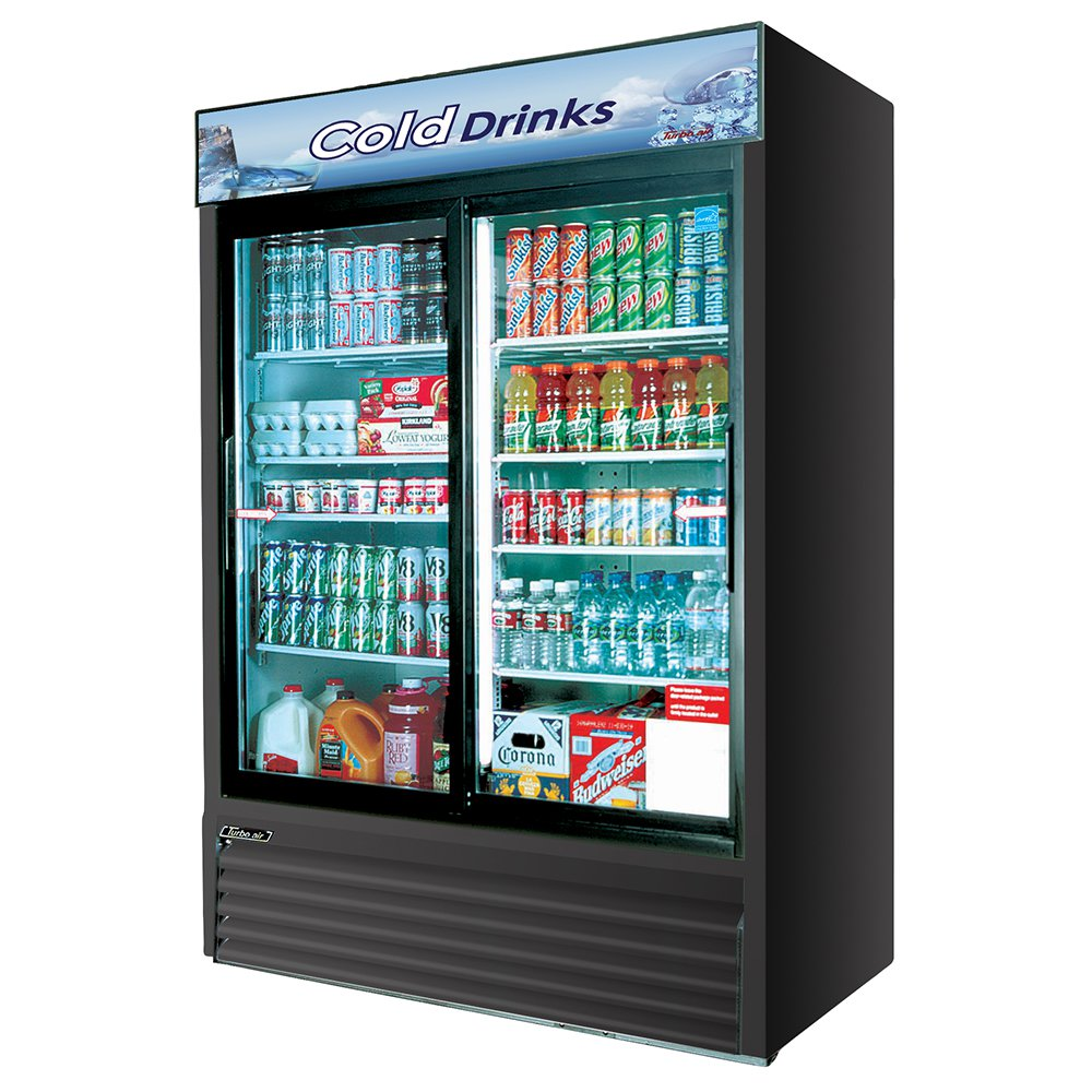 Turbo Air TGM-48RB Refrigerated Merchandiser w/ 2-Section & 8-Shelves, Black, 48-cu ft