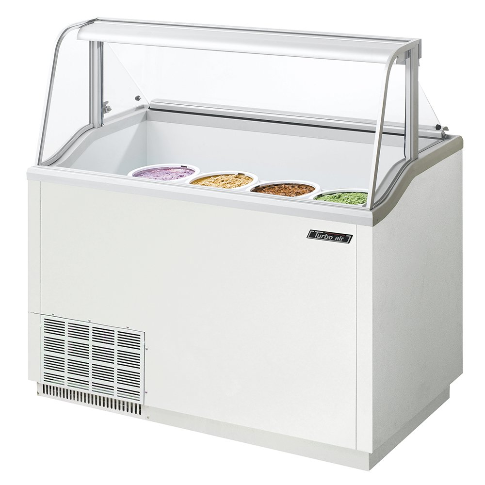 Turbo Air TIDC47W 47-in Dipping Cabinet Holds (8) 3-Gallon Cans, White