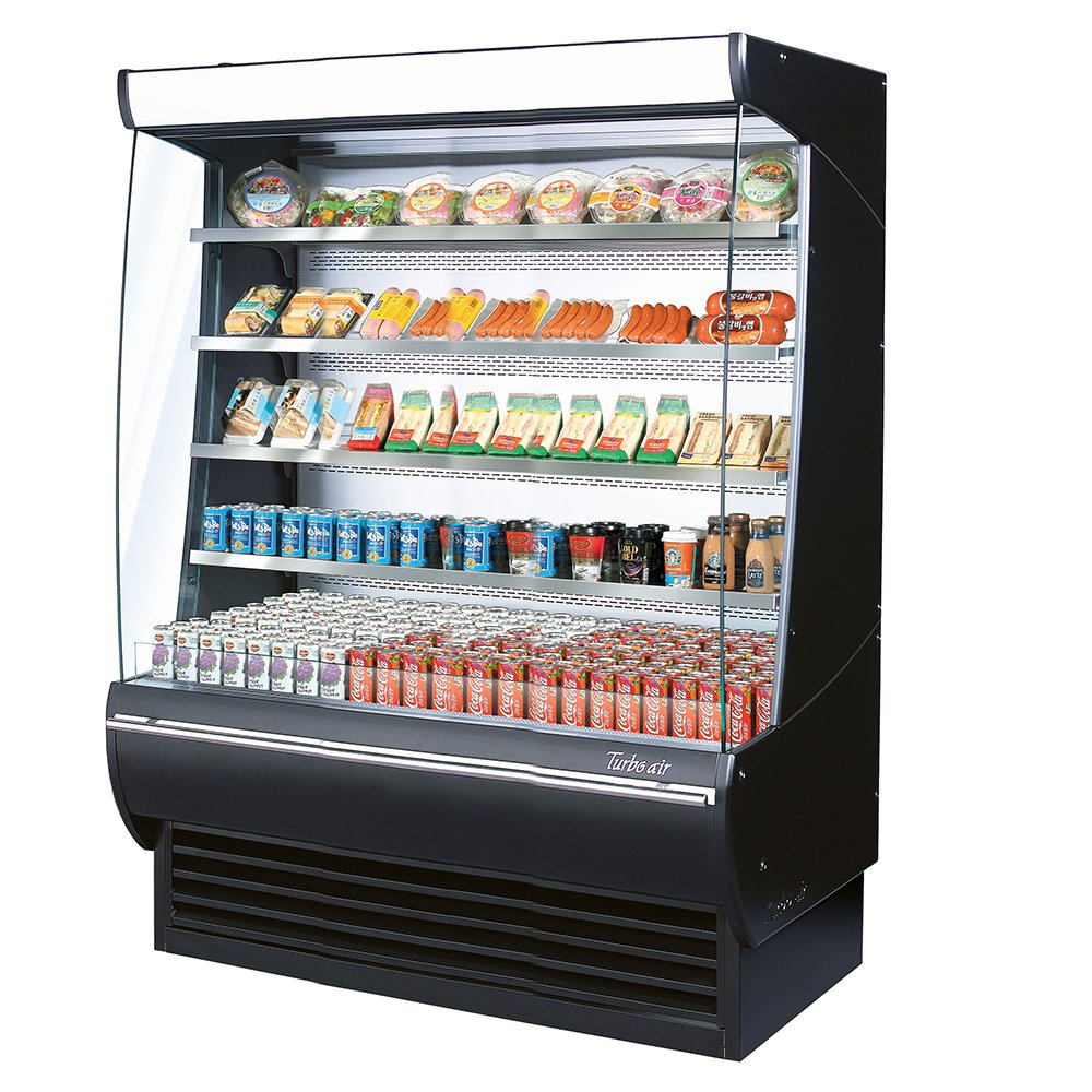 Turbo Air TOM60DX 60-in Open Air Merchandiser w/ LED Lighting, 34.2 cu ft, Black