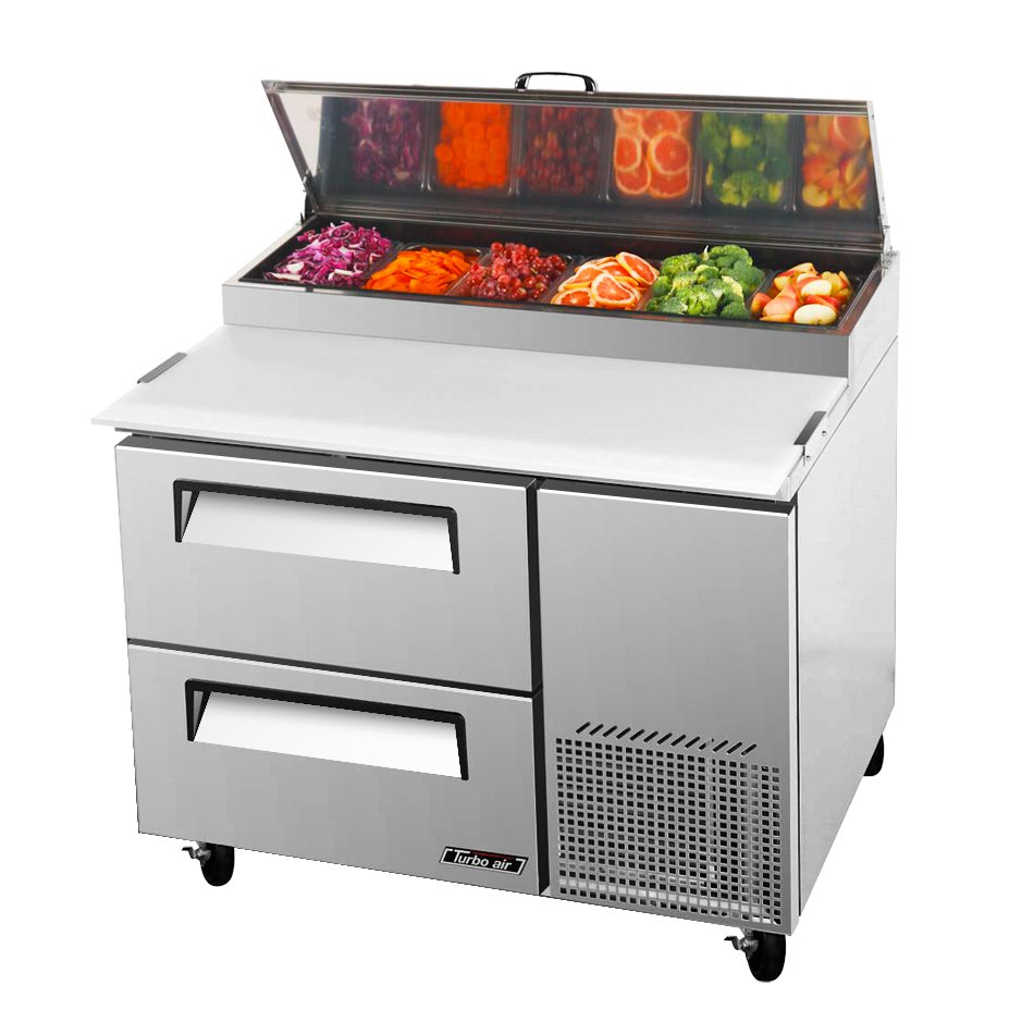 Turbo Air TPR-44SD-D2 1-Section Pizza Prep Table w/ 6-Pans, 14-cu ft, Cutting Board, 2-Drawer