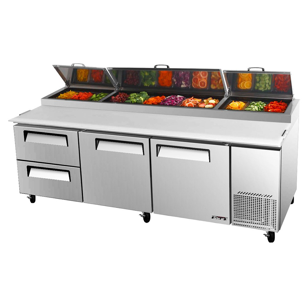 Turbo Air TPR-93SD-D2 3-Section Deluxe Pizza Prep Table w/ 12-Pans, 31-cu ft, 2 Doors & Drawers