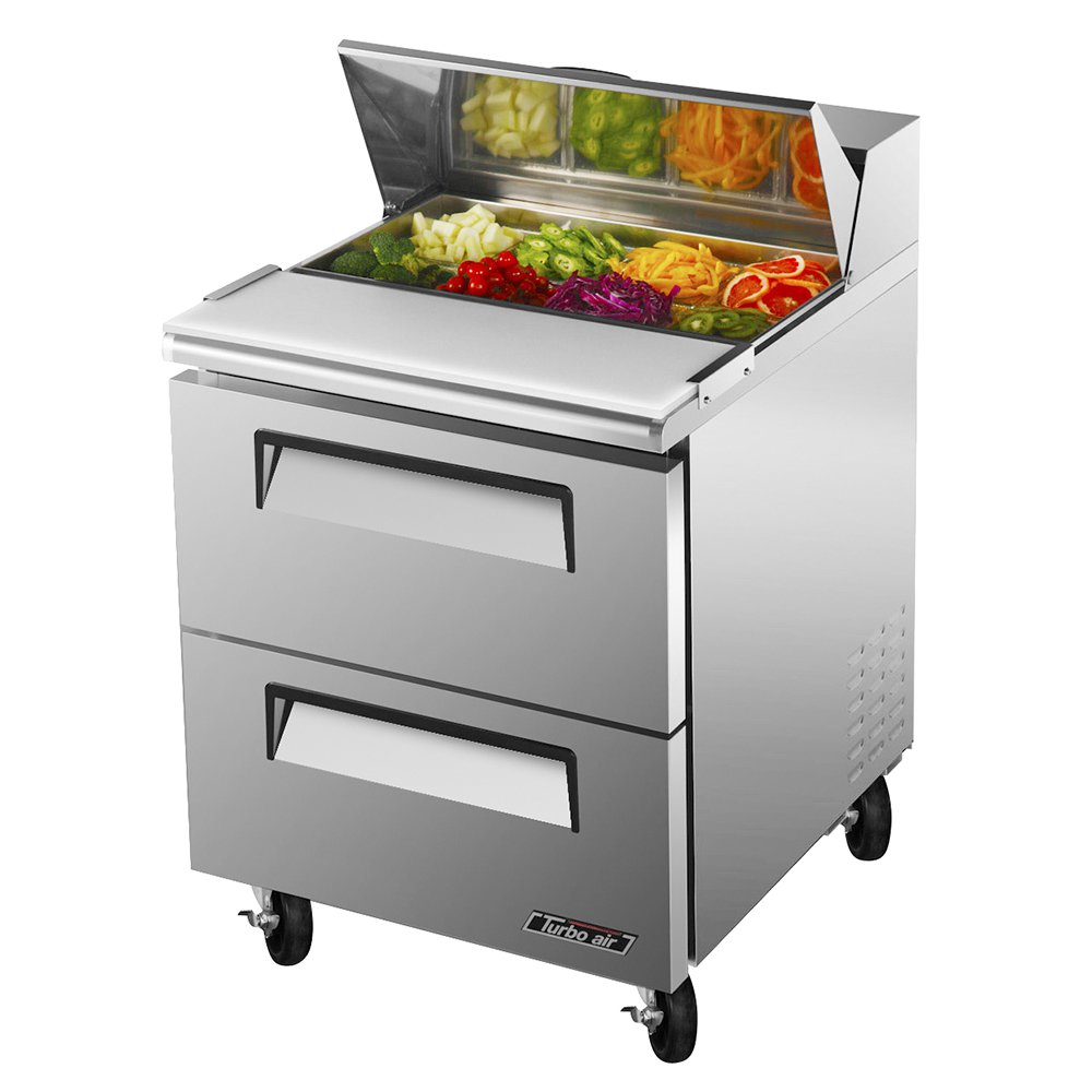 Turbo Air TST-28SD-D2 1-Section Deluxe Sandwich Salad Unit w/ 2-Drawers, 7-cu ft, Stainless