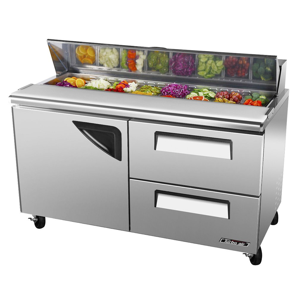 Turbo Air TST-60SD-D2 2-Section Deluxe Sandwich Salad Unit w/ 2-Drawers, 16-cu ft, Door