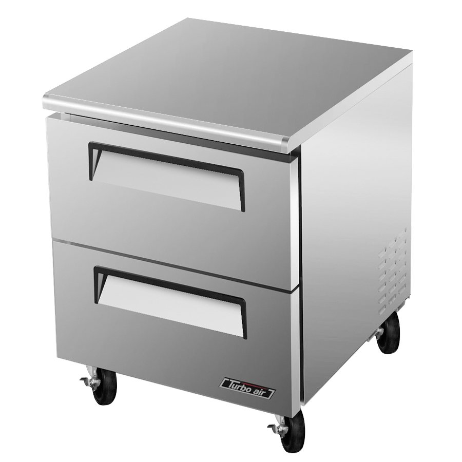 Turbo Air TUF-28SD-D2 1-Section Undercounter Freezer w/ 2-Drawers, 7-cu ft, Rear Mount