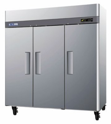 "Turbo Air M3F72-3 77.75"" Three Section Reach-In Freezer,(3) Solid Doors, 115v"